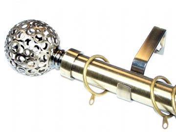 28mm Anitique Brass Curtain Pole with Circle Ball Finials C Rings 3.6m 4.5m 4.8m 6m